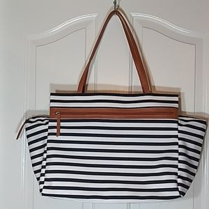 DSW Striped Overnighter Bag